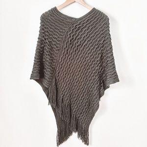 Geometric Pattern Fringed Crochet Poncho Sweater